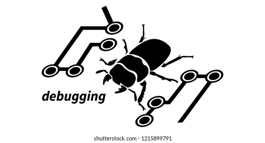 Debugging icon. Bug on a microcircuit. Isolated vector illustration