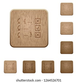 Debugging program on rounded square carved wooden button styles