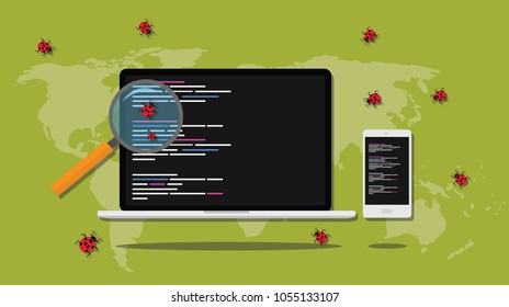 debugging searching bugs in programming software development vector graphic illustration