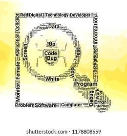Debugging word cloud vector design creative concept. Debugging icon shape. Trendy vector word collection.