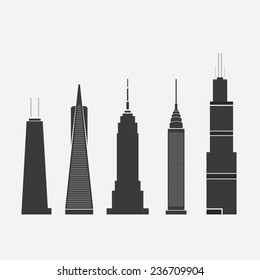 Dec 09, 2014: Set of Abstract Vector Illustrations of Five Famous Skyscrapers: John Hancock Tower, Transamerica Pyramid, Empire State Building, Chrysler Building, Willis Tower - For Editorial Use Only