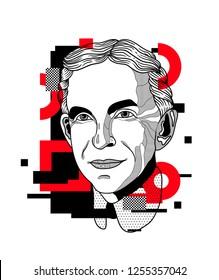 Dec. 11, 2018: Henry Ford. Vector illustration hand drawn. Glitch.