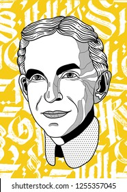 Dec. 11, 2018: Henry Ford. Vector illustration hand drawn. Abstract gothic calligraphy.