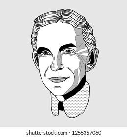 Dec. 11, 2018: Henry Ford. Vector illustration hand drawn.