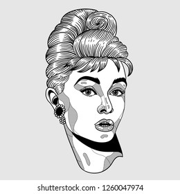 Dec. 17, 2018: Audrey Hepburn. Vector illustration hand drawn.
