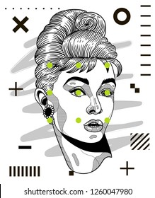 Dec. 17, 2018: Audrey Hepburn. Vector illustration hand drawn. Modern geometric portraits with dots.