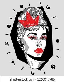 Dec. 17, 2018: Audrey Hepburn. Vector illustration hand drawn. Crazy portrait. Crown.