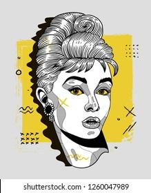 Dec. 17, 2018: Audrey Hepburn. Vector illustration hand drawn. Creative geometric portrait.