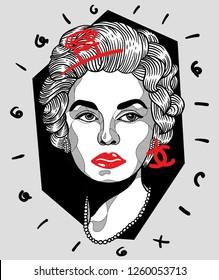Dec. 17, 2018: Coco Chanel. Vector illustration hand drawn. Crazy portrait.