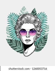 Dec. 17, 2018: Coco Chanel. Vector illustration hand drawn. Hipster portrait with glasses and tropical leaves. Summer style.