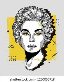 Dec. 17, 2018: Coco Chanel. Vector illustration hand drawn. Creative geometric portrait.