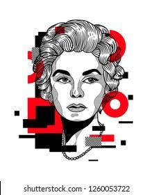 Dec. 17, 2018: Coco Chanel. Vector illustration hand drawn. Glitch.