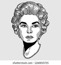 Dec. 17, 2018: Coco Chanel. Vector illustration hand drawn.