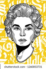 Dec. 17, 2018: Coco Chanel. Vector illustration hand drawn. Abstract gothic calligraphy.