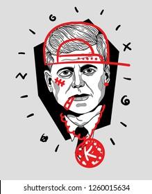Dec. 17, 2018: John Kennedy. Vector illustration hand drawn. Crazy portrait.  Rapper is smoking.