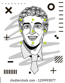 Dec. 17, 2018: Mark Zuckerberg. Vector illustration hand drawn. Modern geometric portraits with dots.