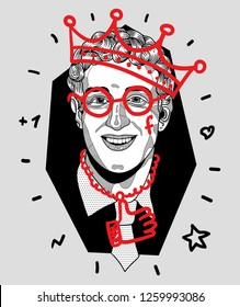 Dec. 17, 2018: Mark Zuckerberg. Vector illustration hand drawn. Crazy portrait. Rapper with a crown in glasses.