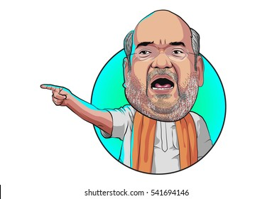 Dec 2016, Caricature character illustration of Amit Shah in angry expressions  pointing finger - President of the Bharatiya Janata Party, India.