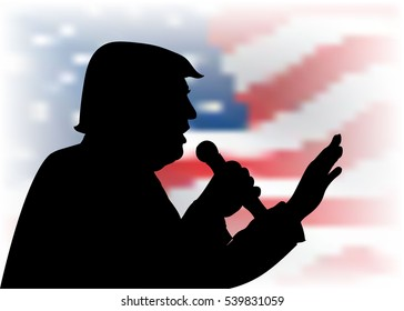 DEC, 2016: President Donald Trump portrait on US flag background.   black silhouette with a microphone speaking to the audience.