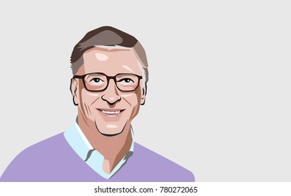 Dec, 2017: Bill Gates editorial portrait on a gray background