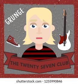 Dec 2018: Kurt Cobain rock star nirvana vector illustration. 27 club culture music history person dead young rock