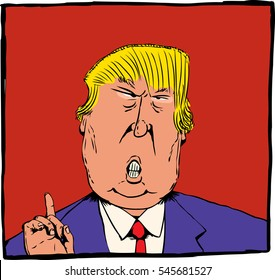 Dec. 27, 2016. Cartoon caricature of President Elect Donald Trump with index finger pointed up over red