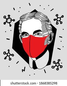Dec. 5, 2020: Henry Ford. Wearing medical mask during quarantine coronavirus. Covid19, virus, health and medicine concept.