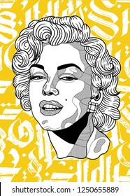 Dec. 6, 2018: Marilyn Monroe. Vector illustration hand drawn.  Abstract gothic calligraphy.