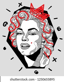 Dec. 6, 2018: Marilyn Monroe. Vector illustration hand drawn. Crazy portrait.