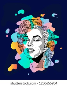 Dec. 6, 2018: Marilyn Monroe. Vector illustration hand drawn. Dream portrait with colors spots on the violet background.