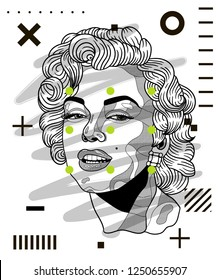 Dec. 6, 2018: Marilyn Monroe. Vector illustration hand drawn. Modern geometric portraits with dots.