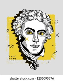 Dec.11, 2018: Michael Faraday. Vector illustration hand drawn. Creative geometric portrait.