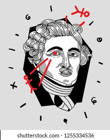 Dec.12, 2018: Louis Jacques Mande Daguerre. Vector illustration hand drawn. Crazy portrait.