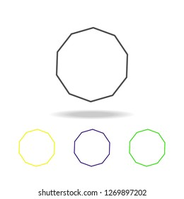 decagon colored icon. Can be used for web, logo, mobile app, UI, UX