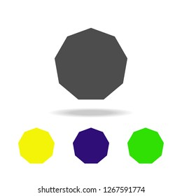 decagon colored icons. Elements of Geometric figure colored icons. Can be used for web, logo, mobile app, UI, UX