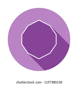 decagon icon in long shadow style. One of Geometric figures collection icon can be used for UI, UX