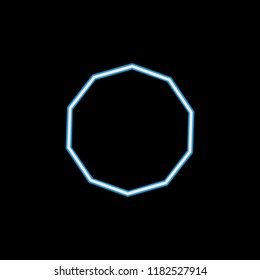 decagon icon in neon style. One of geometric figure collection icon can be used for UI, UX on black background
