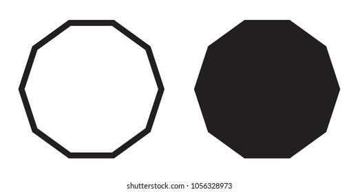 Decagon icon of vector geometry decagonal ten sided polygon decagon line