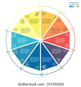 Decagon for infographics with circular arrows. Diagram with 10 steps, options, parts, processes. Vector template for presentation.
