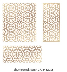 Decal. Laser cutting panel. Fence. Veneer vector. Plywood laser cutting floral design. Room divider. Seamless pattern for silhouette stamps. Stencil lattice ornament for laser cutting. Home screen.