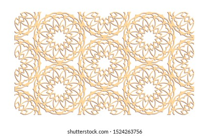 Decal. Laser cutting panel. Veneer vector. Plywood lasercut floral design. Hexagonal seamless pattern for printing, engraving, paper cut, silhouette stamps. Stencil lattice ornaments.