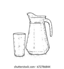 Decanter and glass for milk, water or juice. Hand drawn vector illustration. Drink.