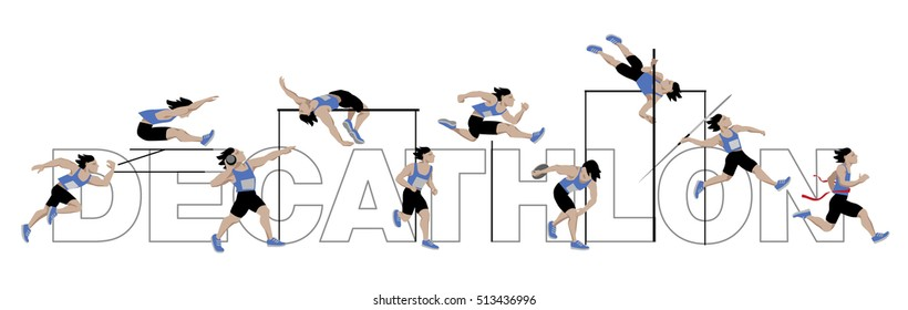 decathlon-athlete, isolated on white background with Lettering