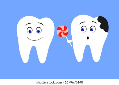 Decay and healthy teeth vector illustration. Cleaning and whitening teeth isolated on blue.