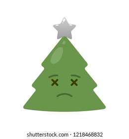 Deceased christmas tree isolated emoticon. Corpse green fir tree with decoration emoji. Merry Christmas and happy new year vector element. Undead face with facial expression. Winter holidays symbol