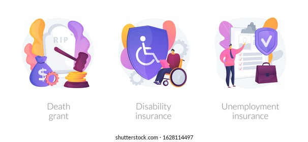 Deceased employee funeral expenses coverage. Disabled individuals allowance. Death grant, disability insurance, unemployment insurance metaphors. Vector isolated concept metaphor illustrations.