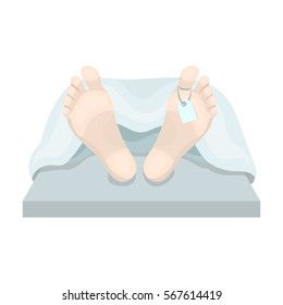 Deceased with tag icon in cartoon style isolated on white background. Funeral ceremony symbol stock vector illustration.