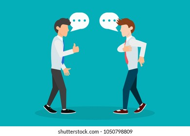 Deceit. Illustration with young stylish men with speech bubbles having conversation, one of them lies, hiding crossed fingers deceit sign fingers gesture. Eps vector illustration horizontal image flat