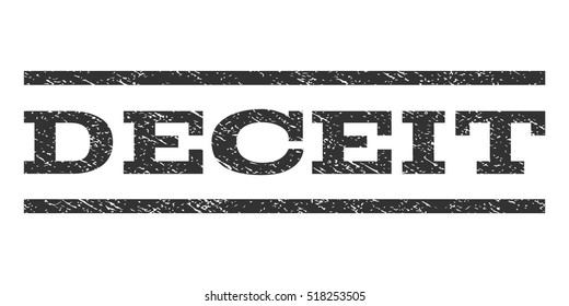 Deceit watermark stamp. Text caption between horizontal parallel lines with grunge design style. Rubber seal stamp with dust texture. Vector gray color ink imprint on a white background.