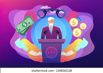 Deceitful politician speaking from tribune, corruption in politics. Political corruption, bribery and tax offence, governmental corruption concept. Bright vibrant violet vector isolated illustration